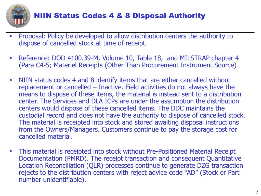 NIIN Status Codes 4 & 8 Disposal Authority