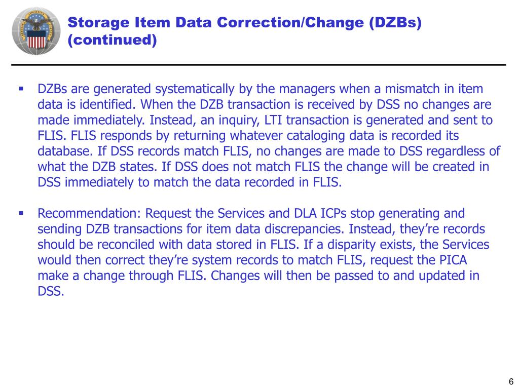 Storage Item Data Correction/Change (DZBs) (continued)