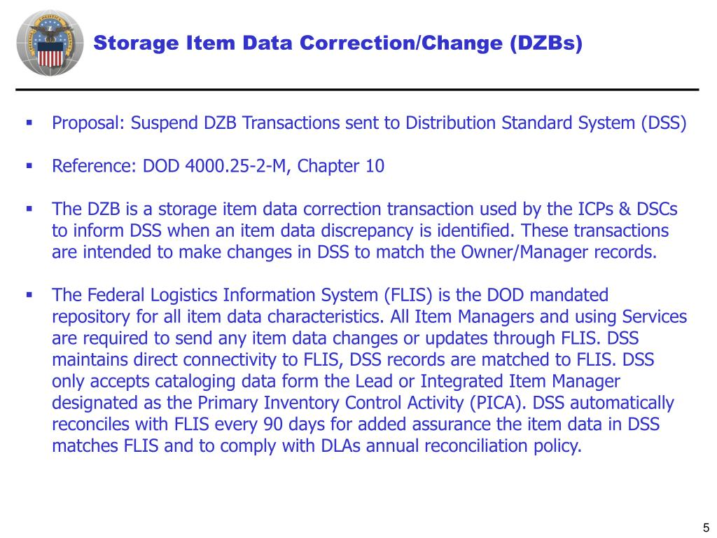 Storage Item Data Correction/Change (DZBs)
