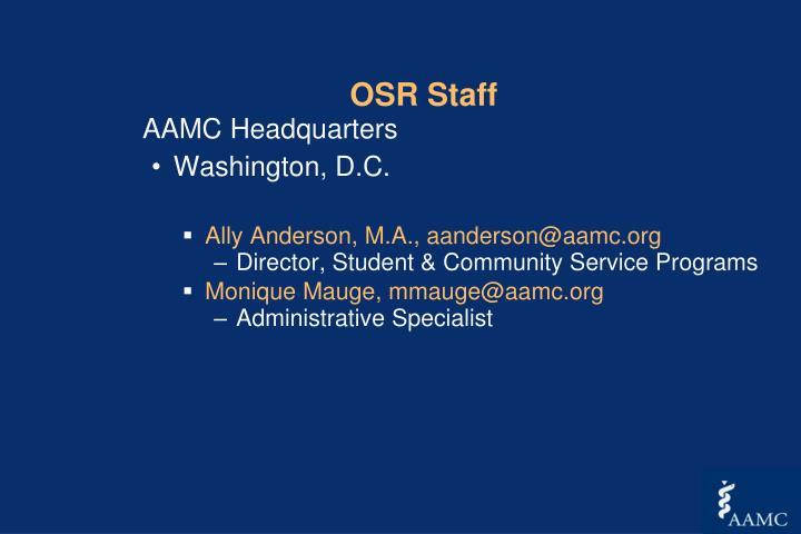 OSR Staff