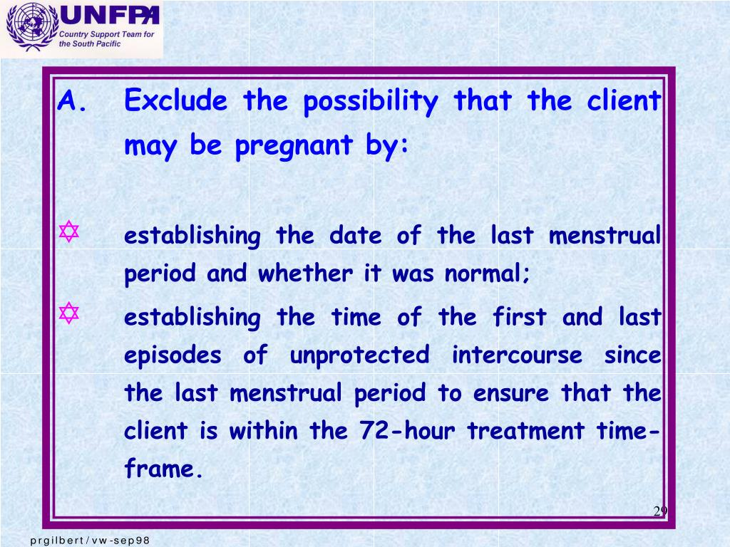 A.	Exclude the possibility that the client may be pregnant by: