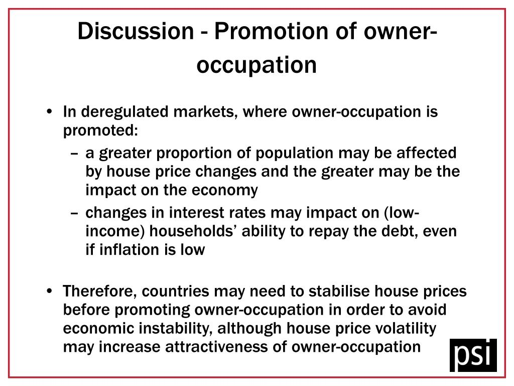 Discussion - Promotion of owner-occupation