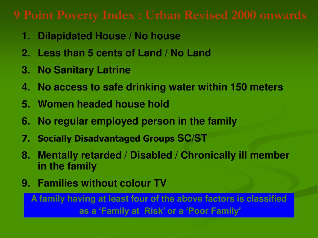 9 Point Poverty Index : Urban Revised 2000 onwards