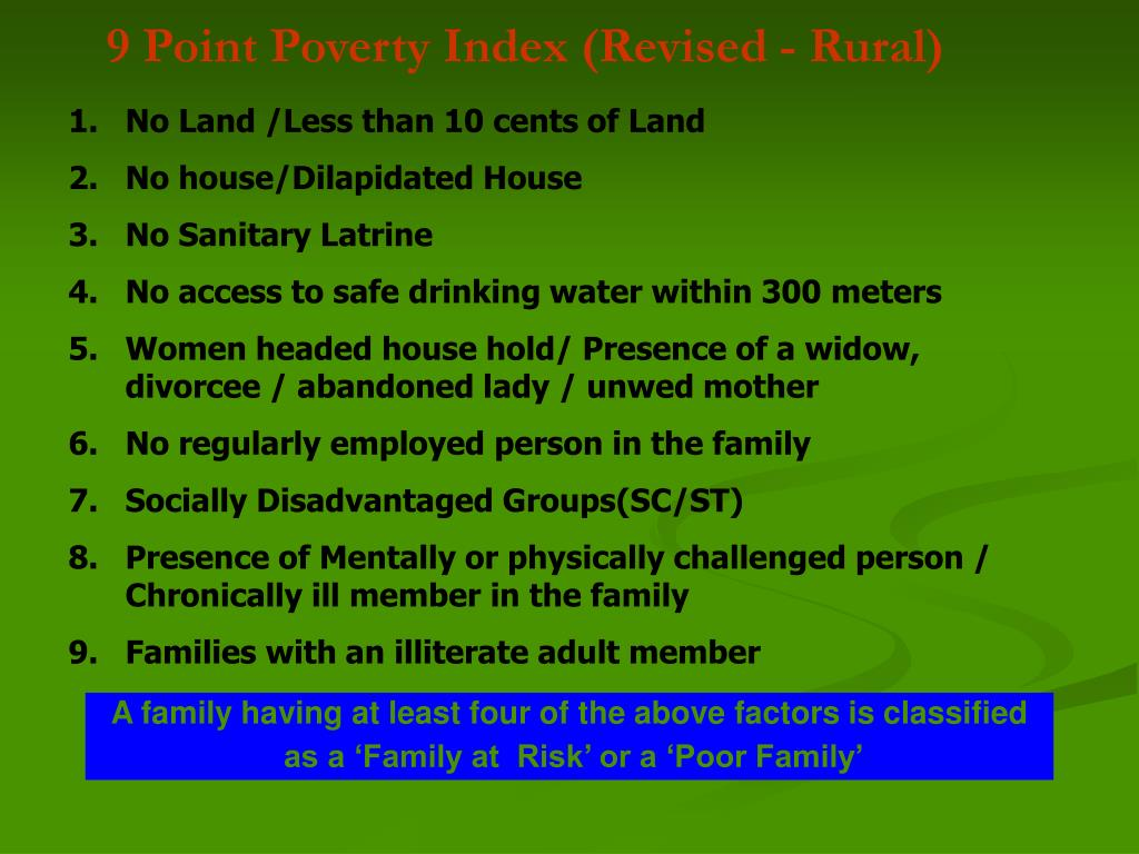 9 Point Poverty Index (Revised - Rural)