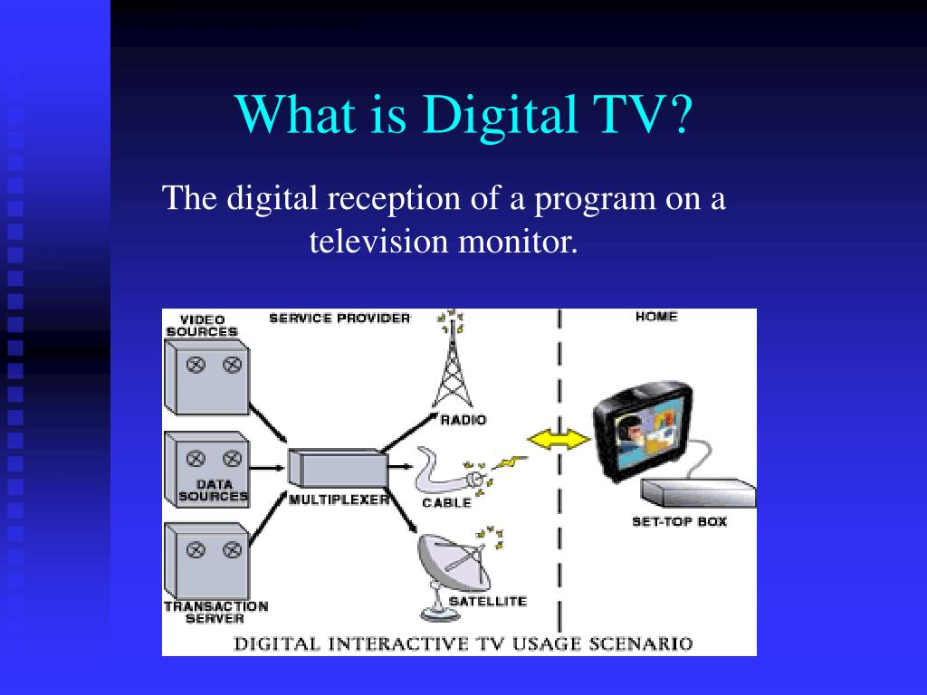 The digital reception of a program on a television monitor.