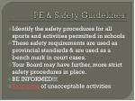 pe safety guidelines