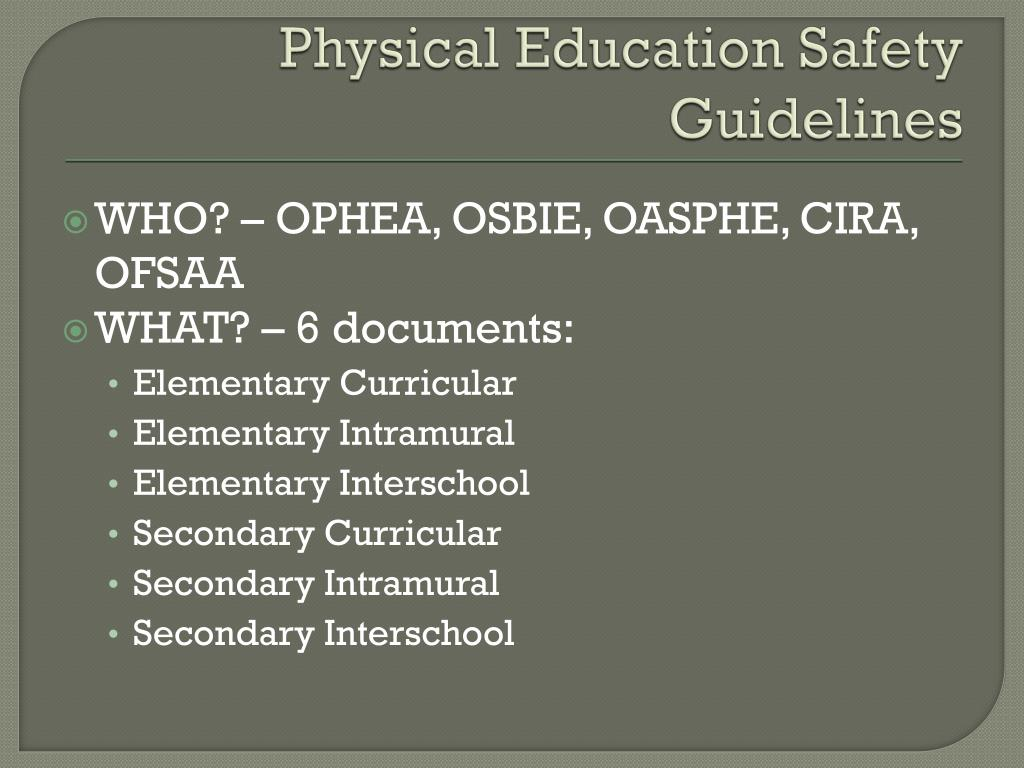 Physical Education Safety Guidelines