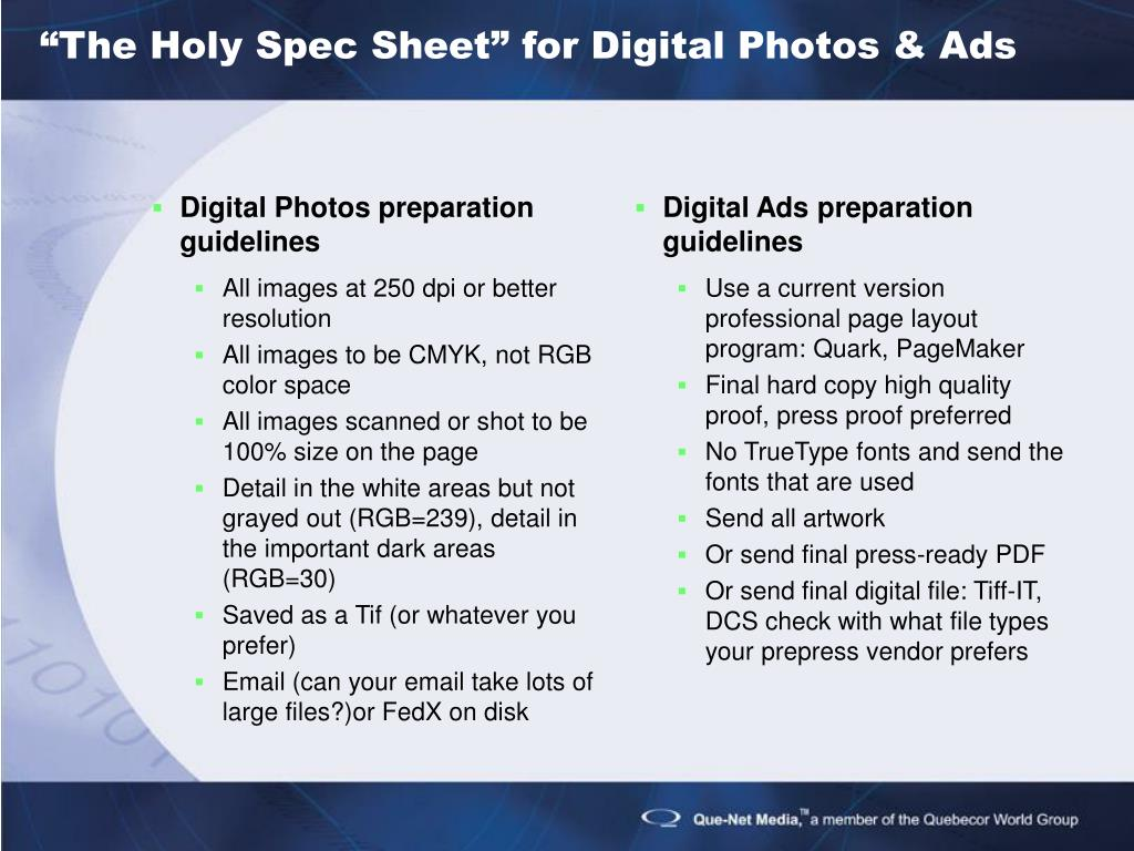 Digital Photos preparation guidelines