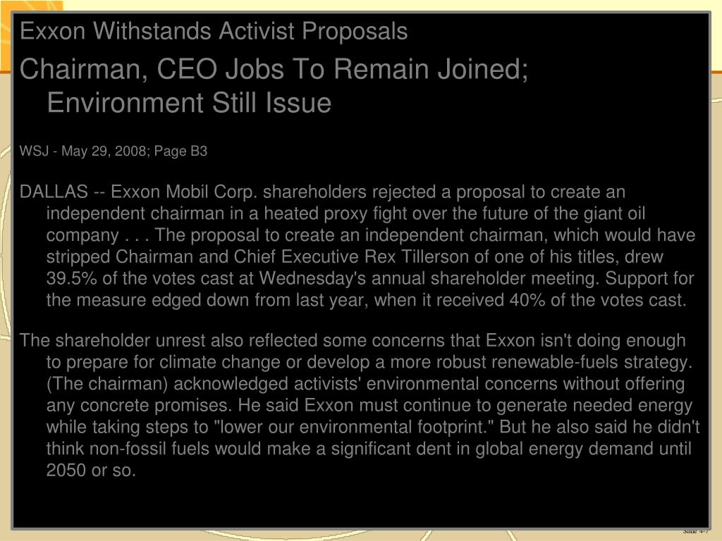 Exxon Withstands Activist Proposals