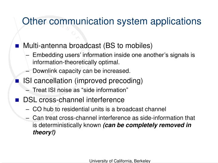 Other communication system applications