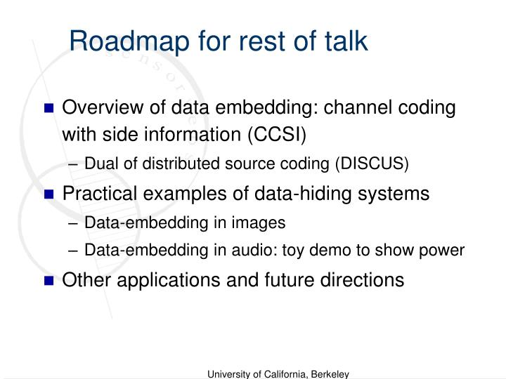 Roadmap for rest of talk