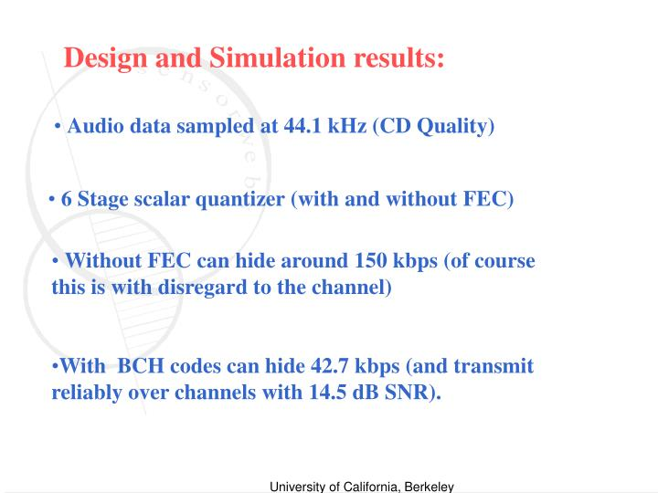 Design and Simulation results: