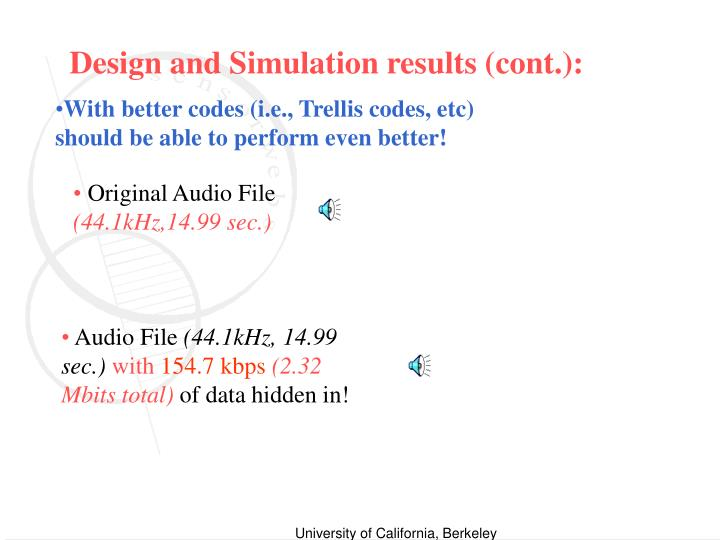 Design and Simulation results (cont.):