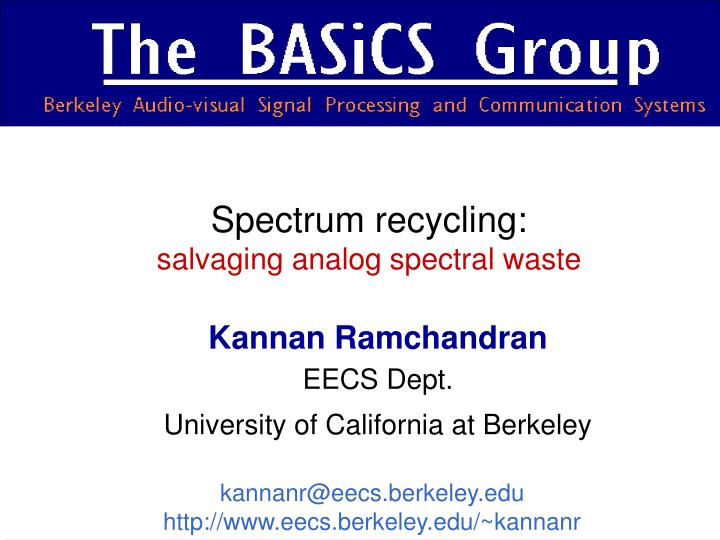 Spectrum recycling salvaging analog spectral waste