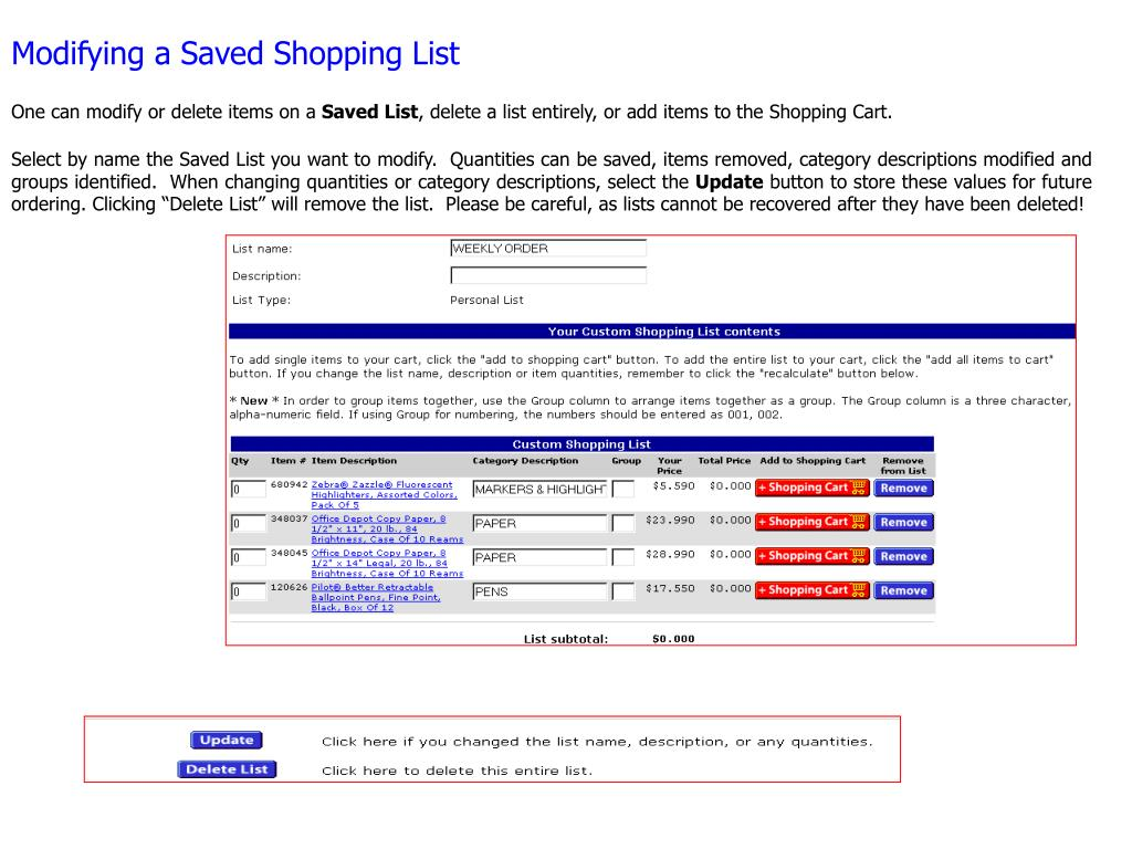 Modifying a Saved Shopping List