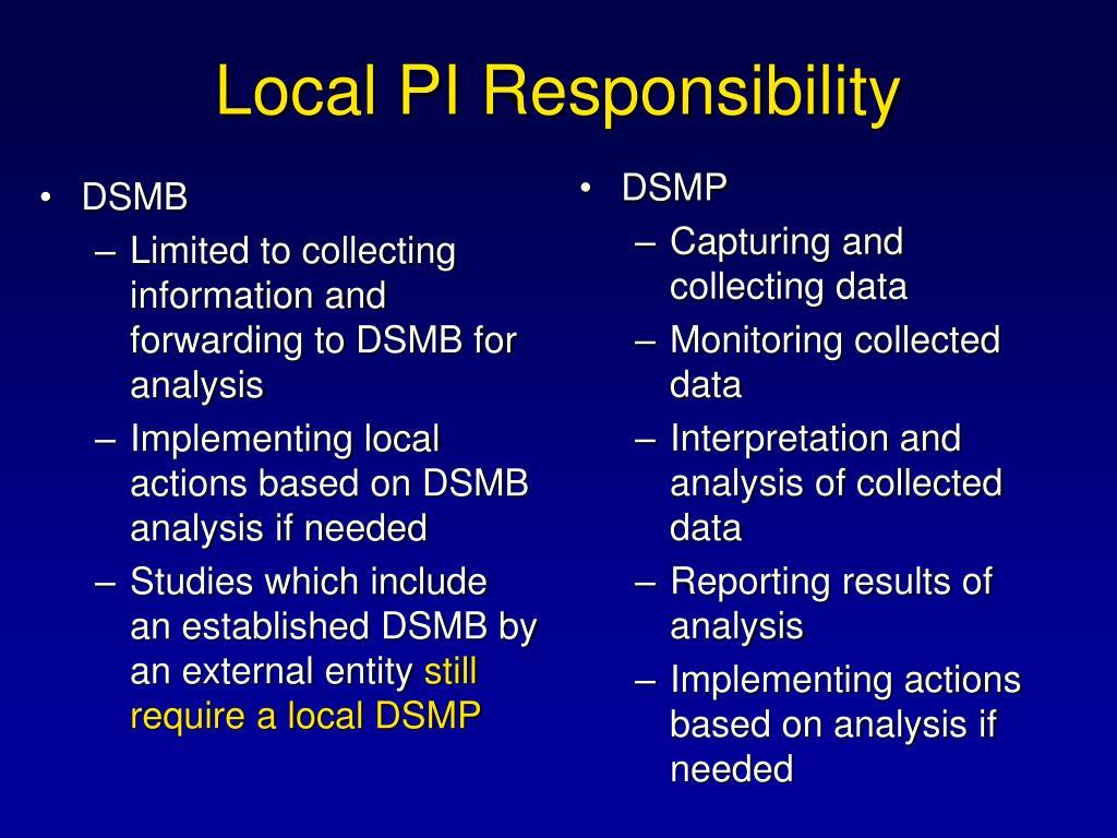 Local PI Responsibility