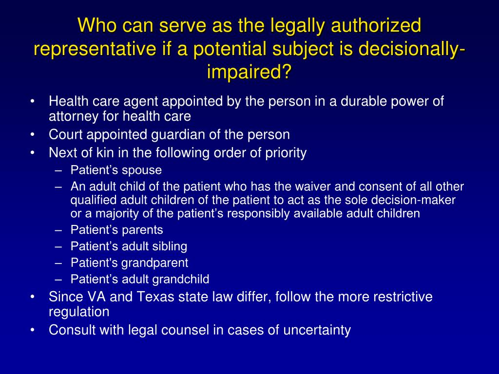 Who can serve as the legally authorized representative if a potential subject is decisionally-impaired?