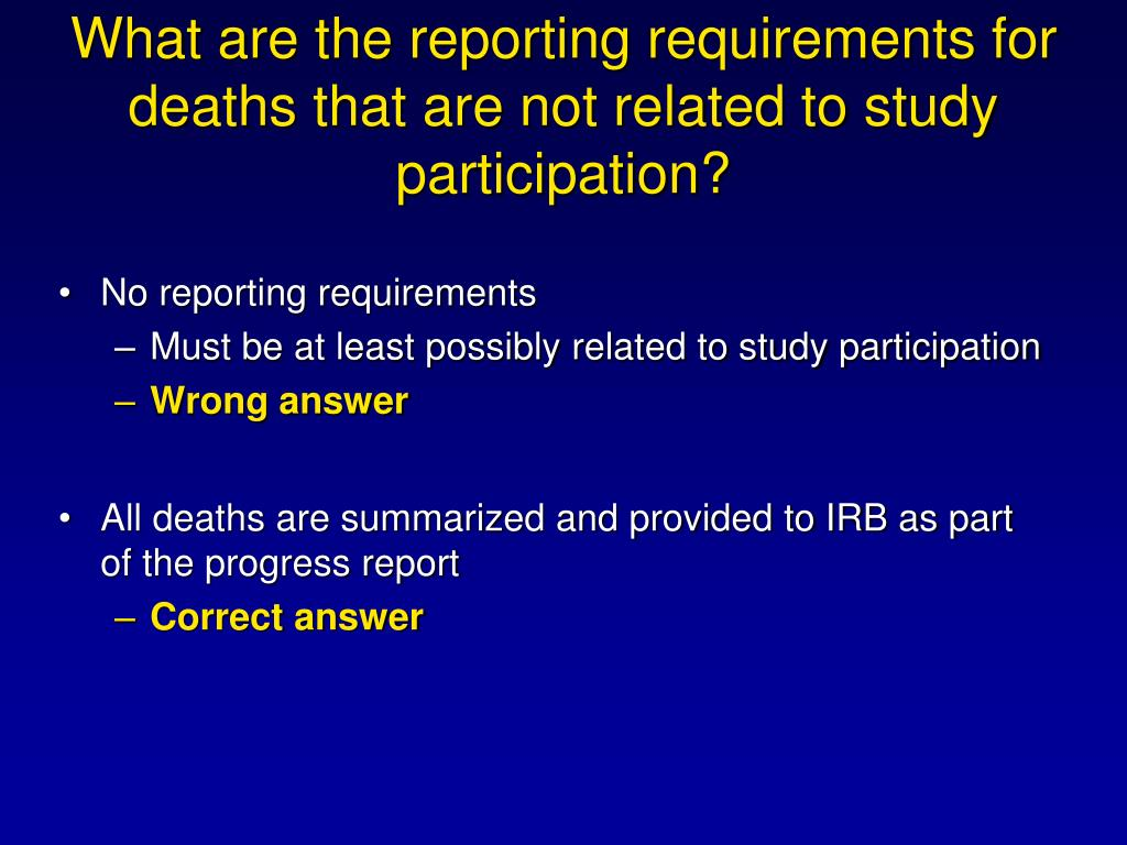 What are the reporting requirements for deaths that are not related to study participation?
