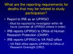 what are the reporting requirements for deaths that may be related to study participation