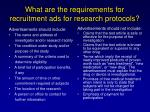 what are the requirements for recruitment ads for research protocols