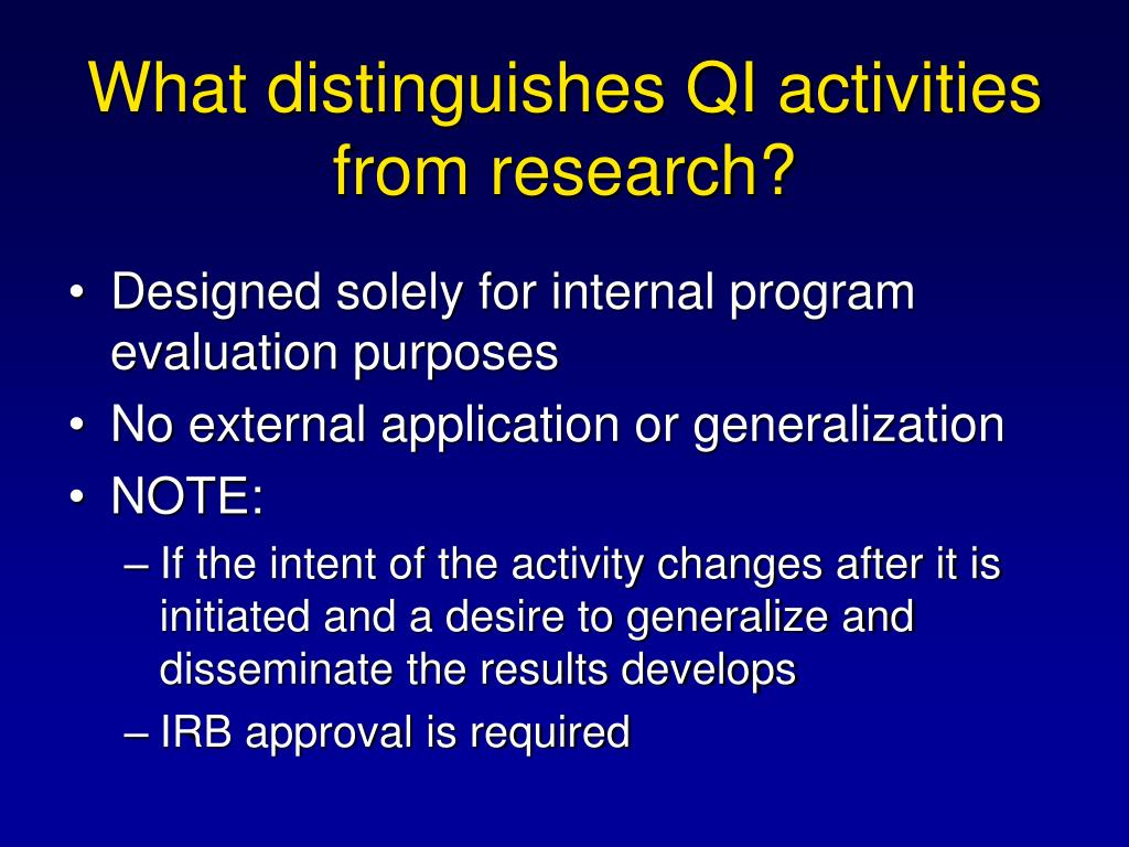 What distinguishes QI activities from research?