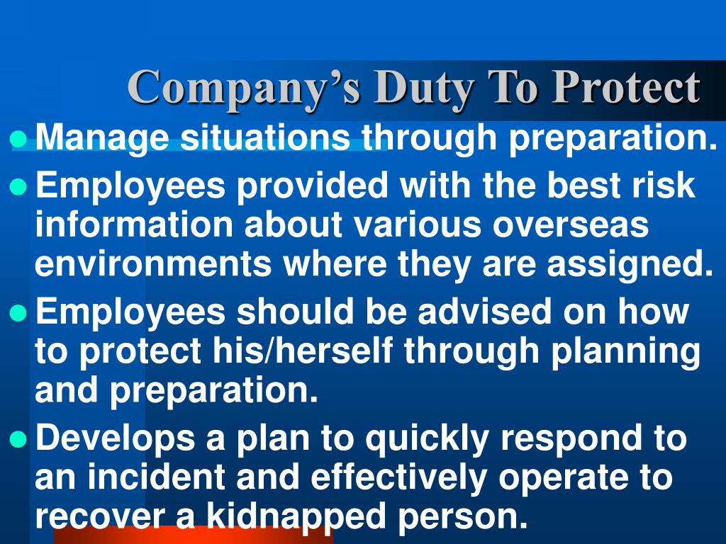 Company's Duty To Protect