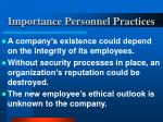 importance personnel practices