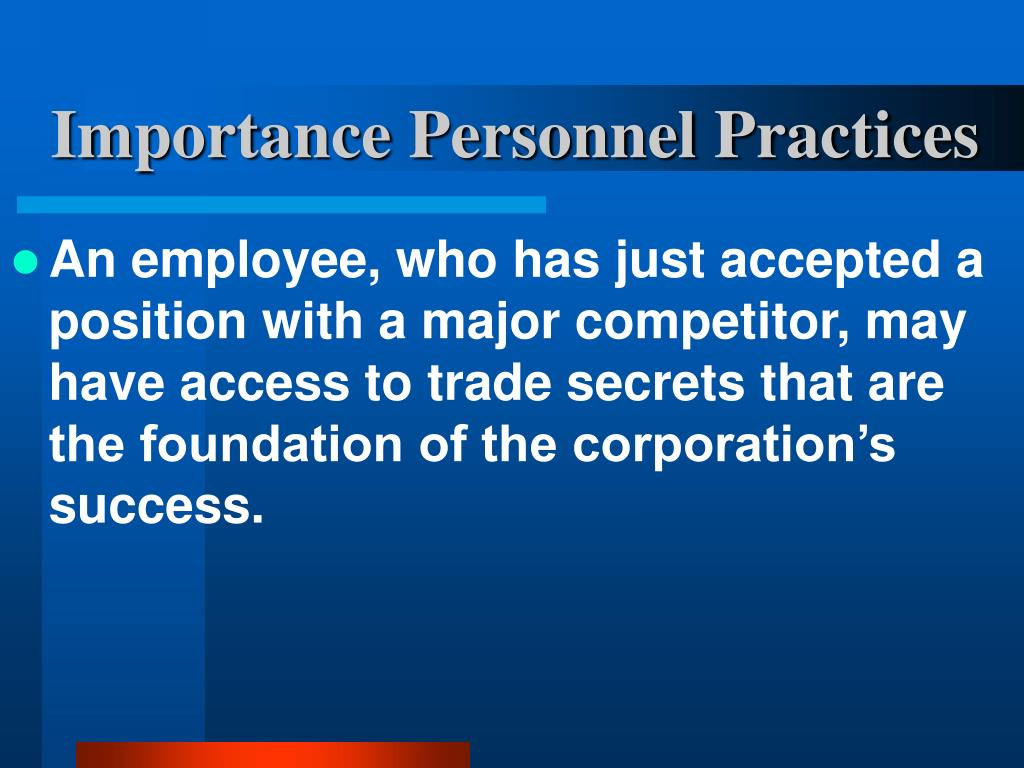 Importance Personnel Practices