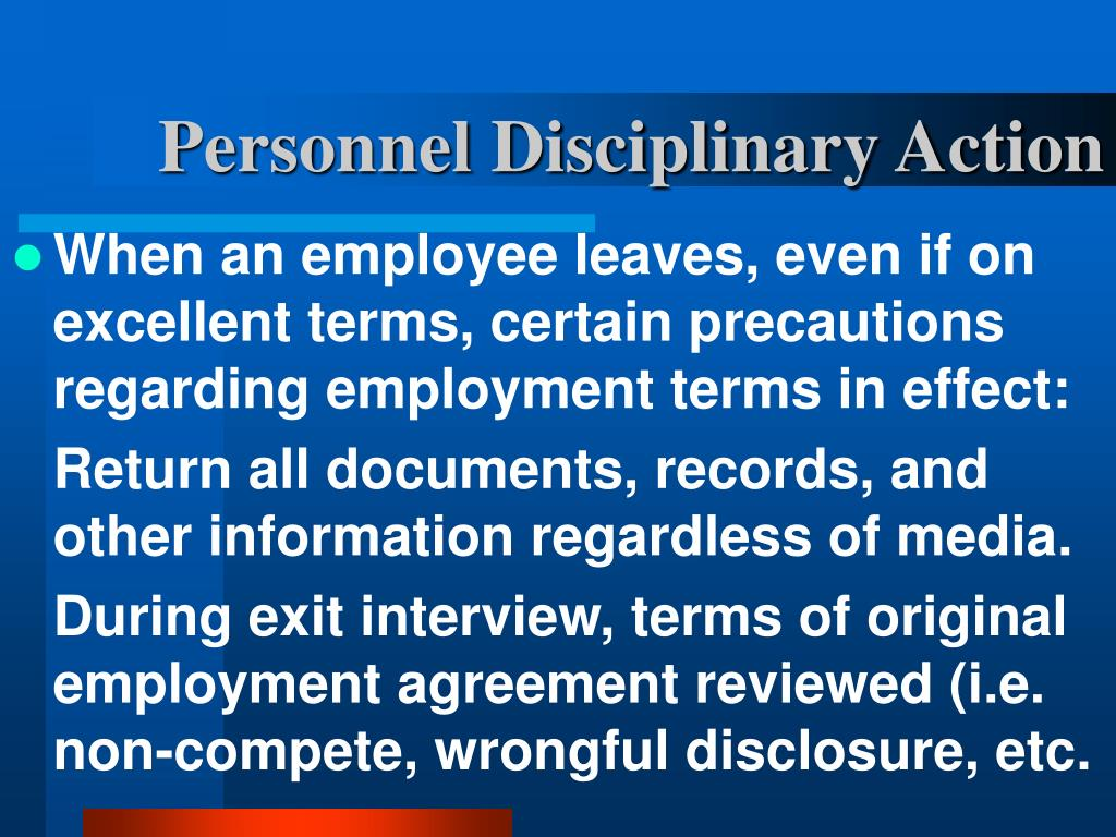 Personnel Disciplinary Action