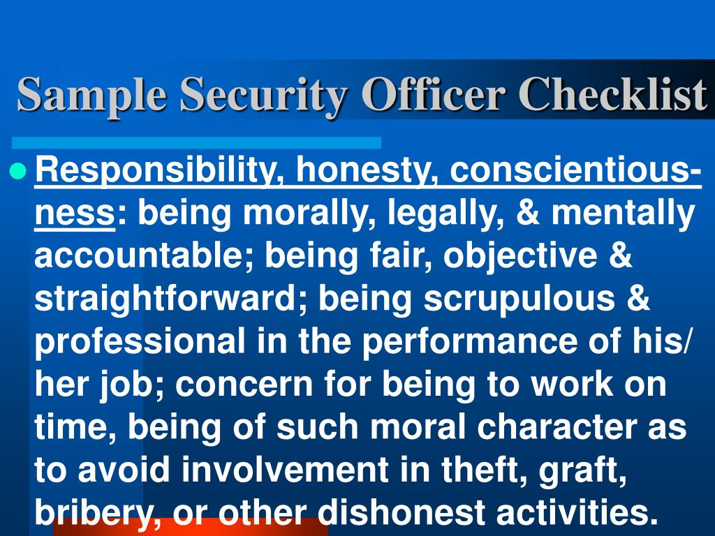 Sample Security Officer Checklist