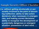 sample security officer checklist25