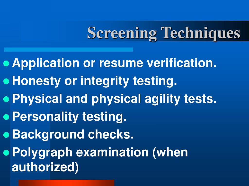 Screening Techniques