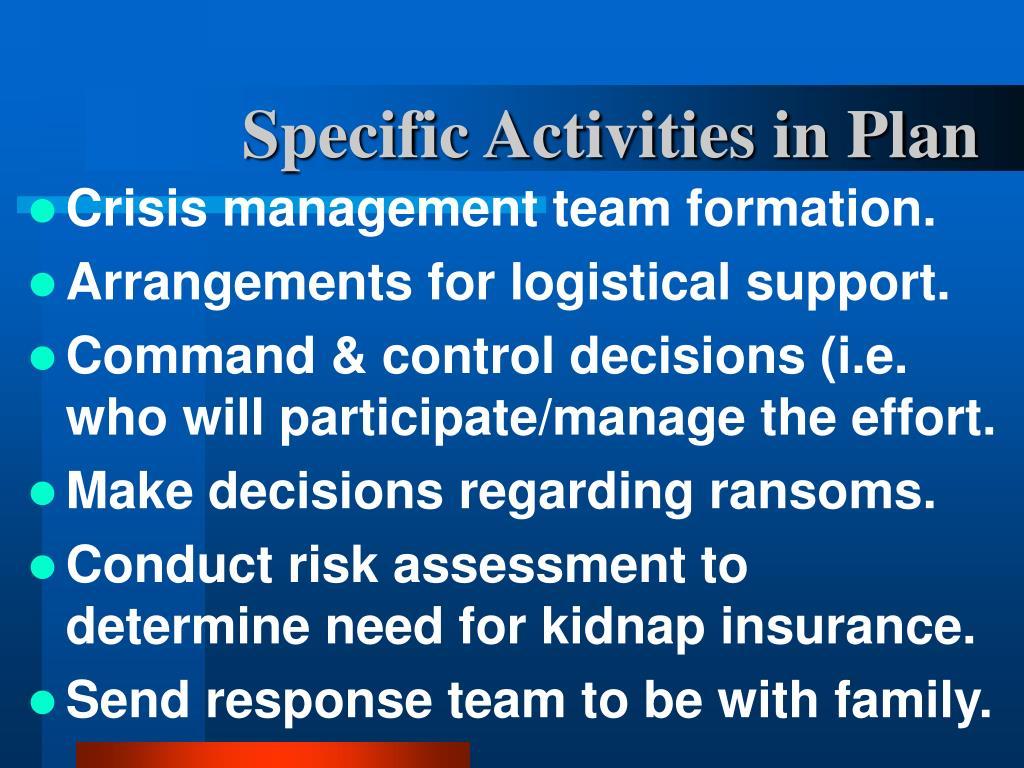 Specific Activities in Plan
