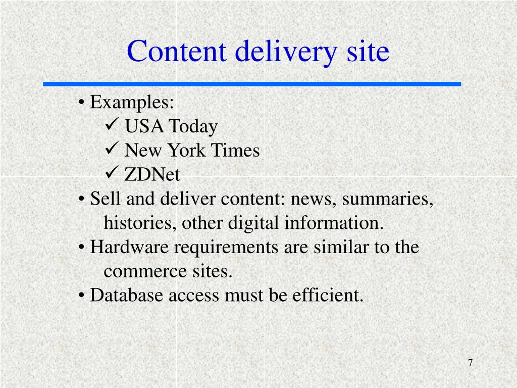 Content delivery site
