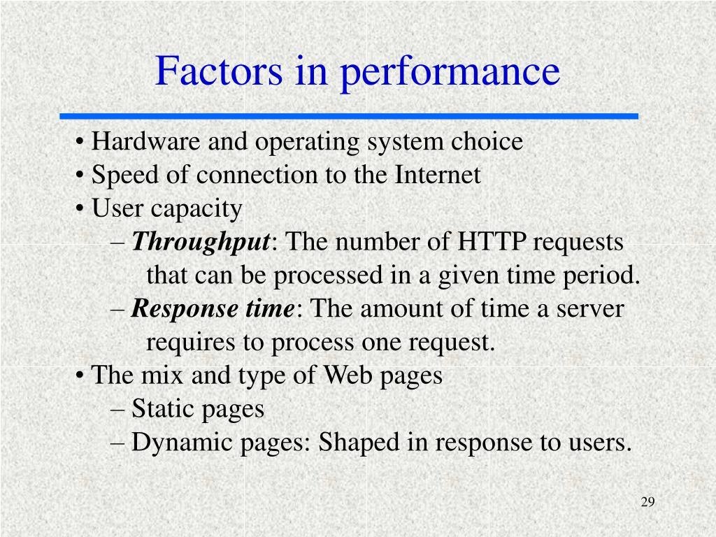Factors in performance