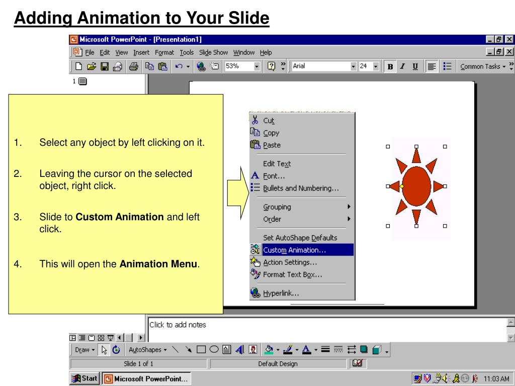 Adding Animation to Your Slide