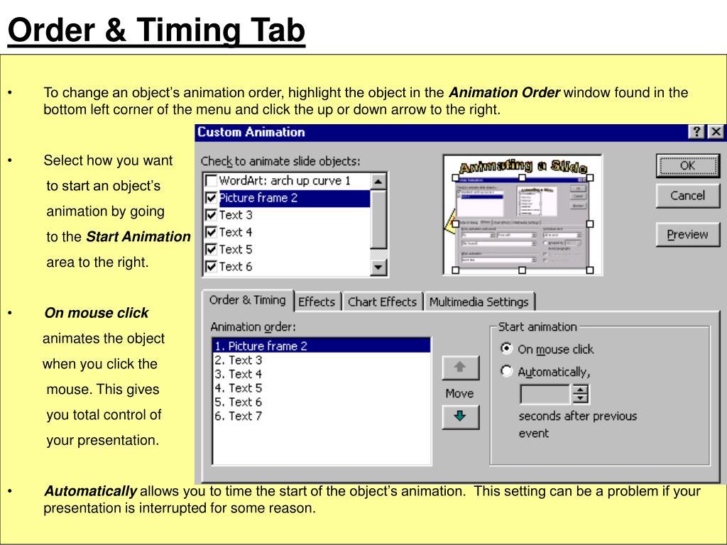 Order & Timing Tab