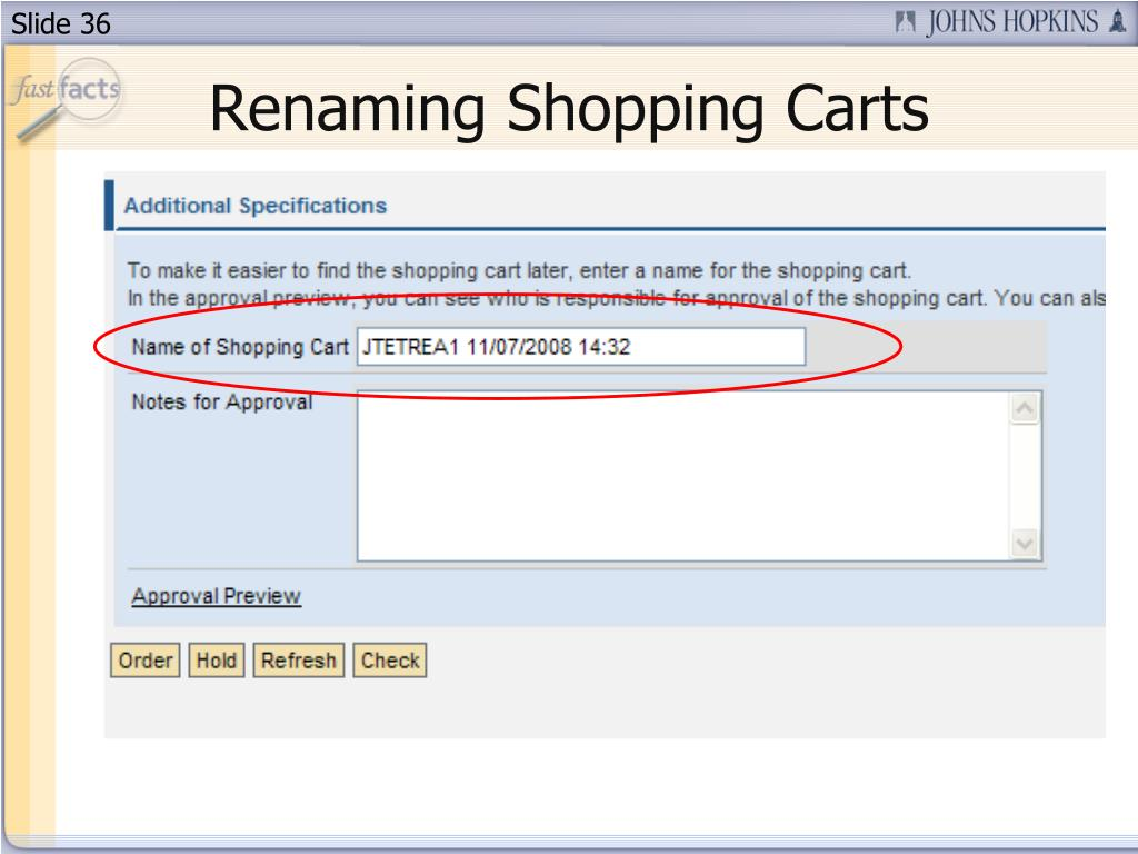 Renaming Shopping Carts