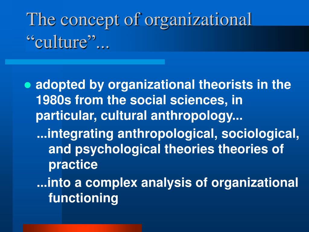 concepts of organisational culture These shared rules, combined with the shared values, assumptions, and beliefs of organizational members, make up the organizational culture of an organization there are seven characteristics of organizational culture , which determine each organization's unique culture.