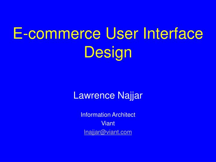 E commerce user interface design