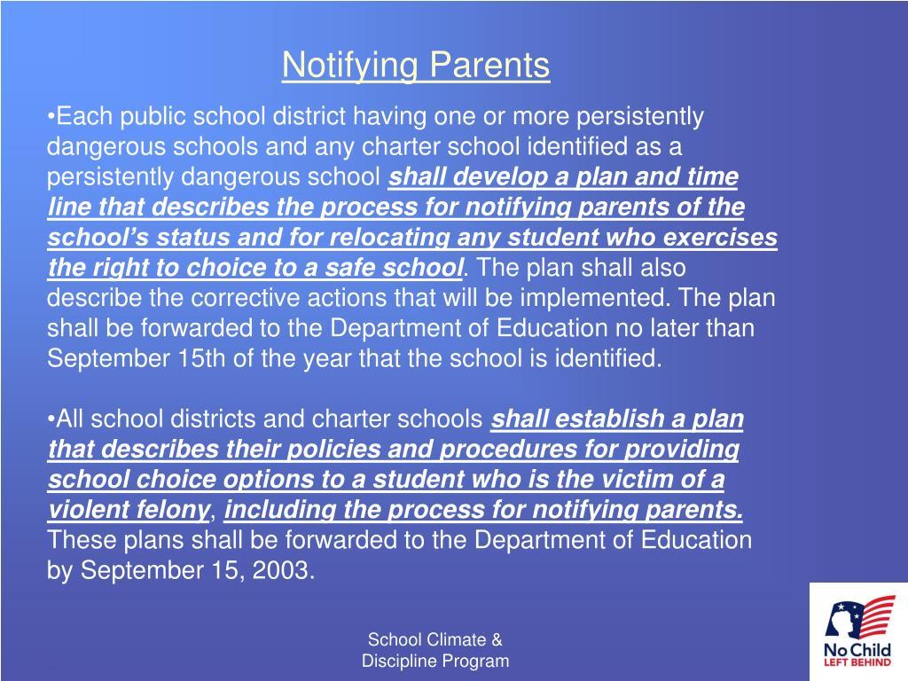 Notifying Parents