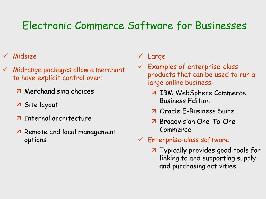 Electronic Commerce Software for Businesses