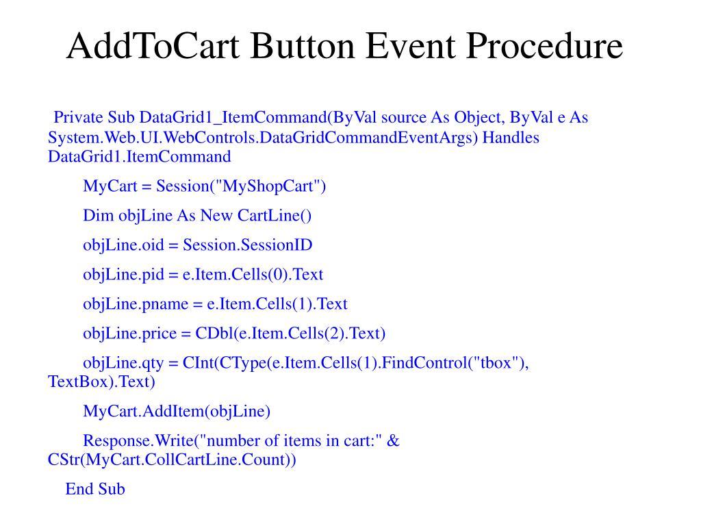 AddToCart Button Event Procedure