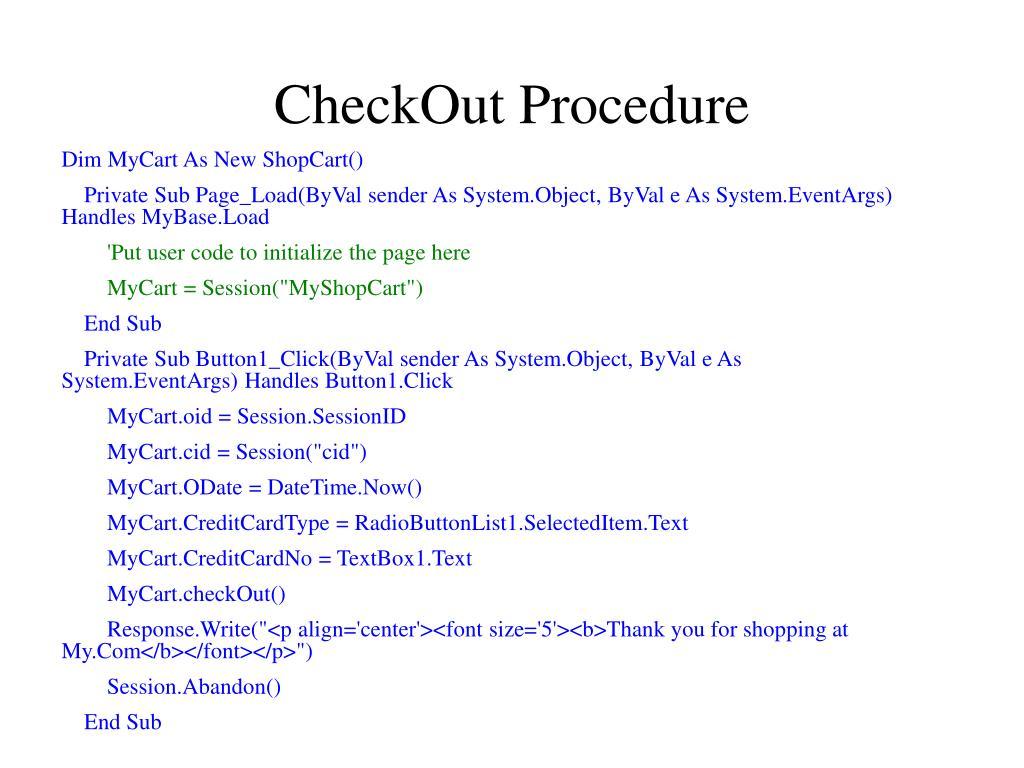 CheckOut Procedure