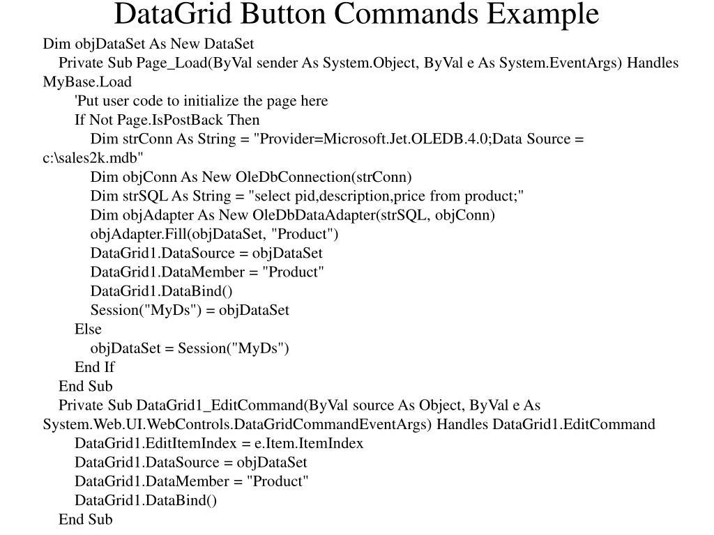 Dim objDataSet As New DataSet