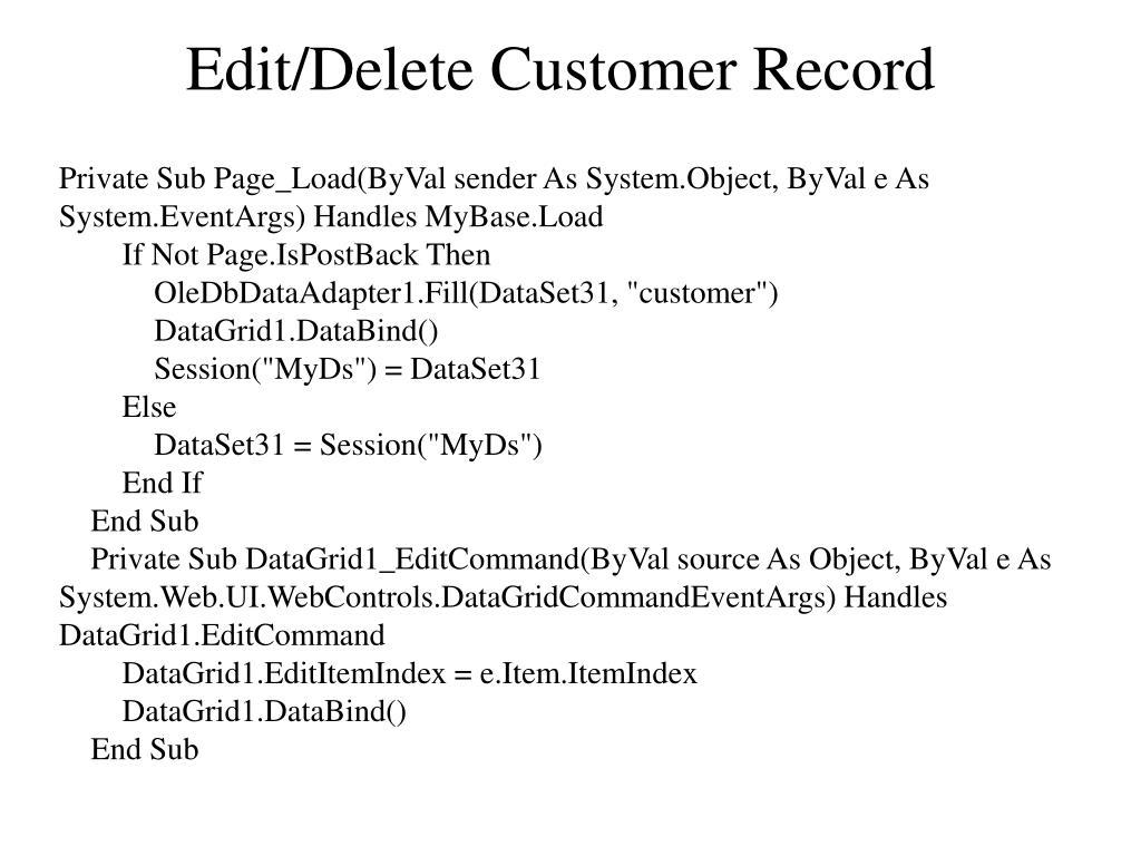 Edit/Delete Customer Record