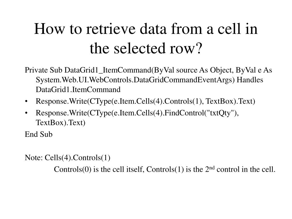 How to retrieve data from a cell in the selected row?
