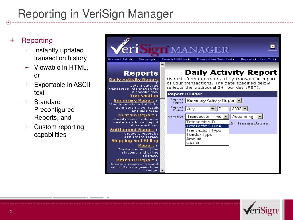 Reporting in VeriSign Manager