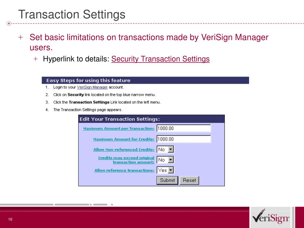 Transaction Settings