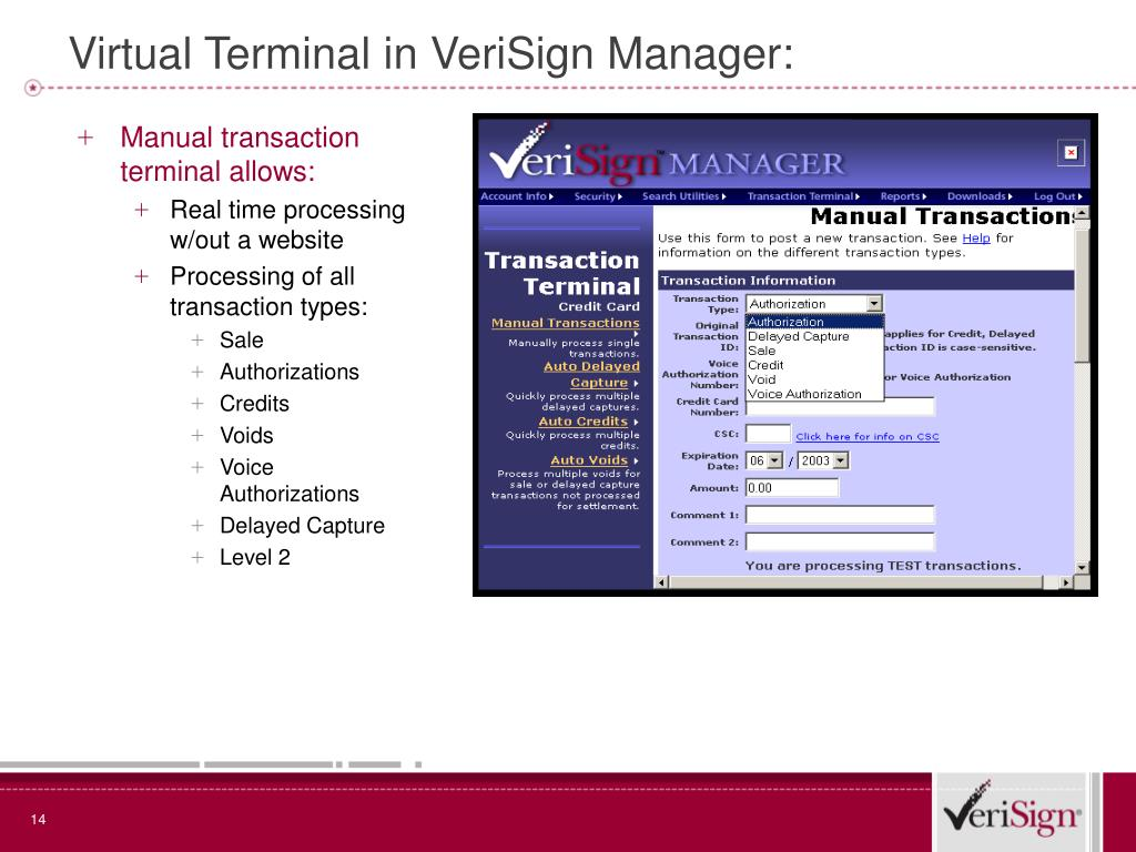 Virtual Terminal in VeriSign Manager: